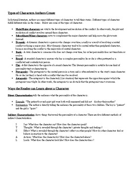Types of Characters + Characterization Notes Handout & Worksheet