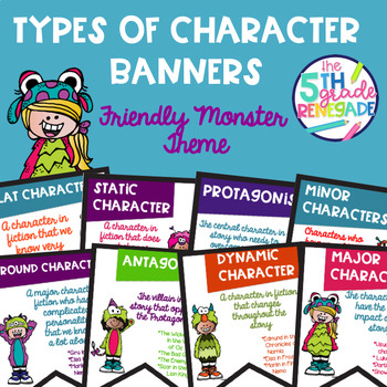 Types of Characters Color Banners with a Friendly Monster Theme