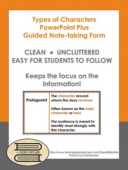 Types of Characters PowerPoint plus Guided Notes