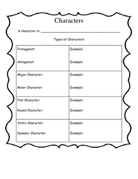 Types of Characters chart for interactive notebooks