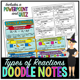 Types of Chemical Reactions Doodle Notes for Science with PowerPoint & Quiz