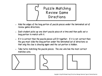 Types of Chemical Reactions Puzzle Matching Review Game