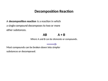Types of Chemical Reactions with examples (Presentation and Handout)