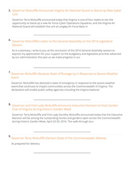 Types of Chiefs (Roles of the VA Governor) VA Civics & Economics SOL CE. 7 d