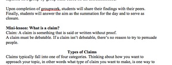 Types of Claims - Common Core Lesson Plan, Activity, & Handouts
