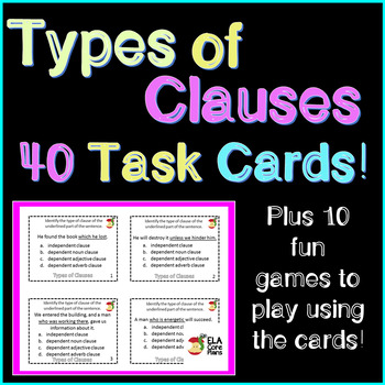 Types of Clauses Task Cards And Games