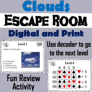 Types of Clouds Activity: Escape Room - Science