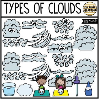 Types of Clouds (Clip Art for Personal & Commercial Use)