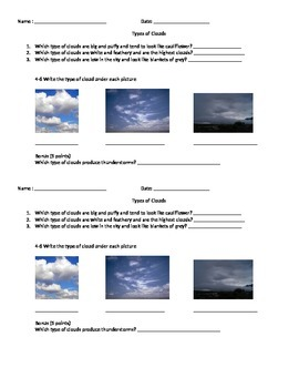 Types of Clouds Quiz