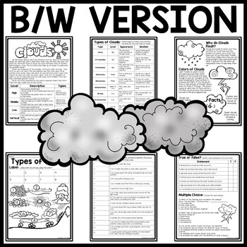Types of Clouds Reading Comprehension Worksheet, Earth Science