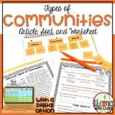 Types of Communities Article,Sort and Worksheet   Printabl