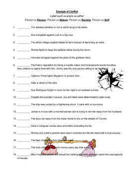 Types of Conflict Example Worksheet by jcferguson | TpT