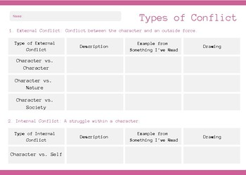 Types of Conflict Graphic Organizer Freebie