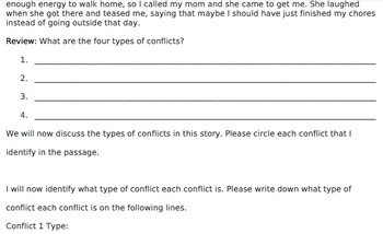 Types of Conflict Identification Passage for Teacher Modeling