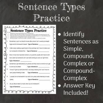 Sentence Types Practice Worksheet