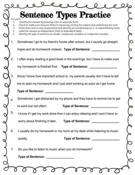 Sentence Types Practice Worksheet By Joyful Bird Creations Tpt 4th Grade Sentences Worksheet Sentence Types Practice Worksheet