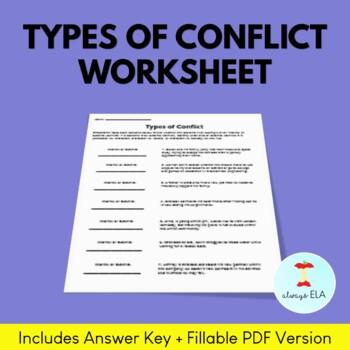 Types of Conflict Worksheet by Always ELA   Teachers Pay Teachers