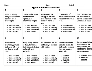 Types of Conflict in Literature:  Pretest and Post-Test