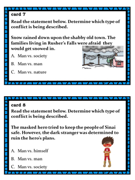 Types of Conflict in Literature for Middle School Students Task Cards