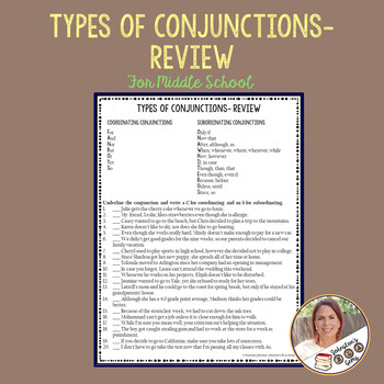 Types of Conjunctions Review- Coordinating and Subordinating for Middle School
