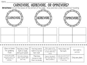 Carnivore Herbivore Omnivore Cut and Paste