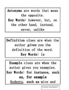 Types of Context Clues Flipbook