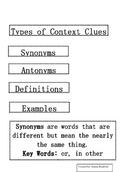 Types of Context Clues Flipbook
