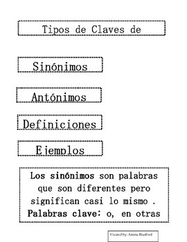 Types of Context Clues Flipbook - Spanish