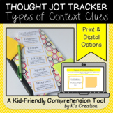 Reading Response: Types of Context Clues - A Comprehension Sticky Note Tracker