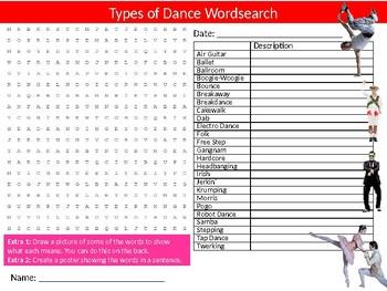 Types of Dance Wordsearch Sheet Starter Activity Keywords Dancing Performing