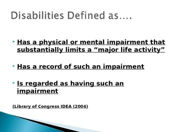 Types of Disabilities Power Point Presentation