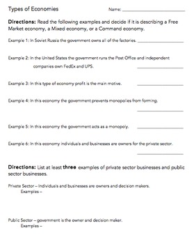 Types of Economies & Private vs. Public Sector Worksheet