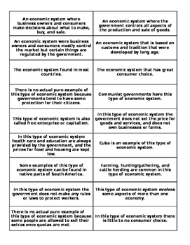 Types of Economies Sort