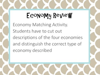 Types of Economy Matching Activity