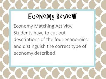 Types of Economy Matching Activity