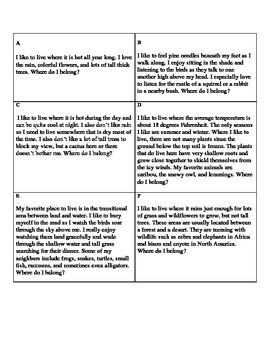 Types of Ecosystems Lesson Plan (4th grade)-Meets VA SOL/NC Essential Standards