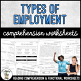 Unit 2 Types of Employment - Reading Comprehension & Functional Worksheets