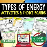 Types of Energy Activity Choice Board, Digital, Google