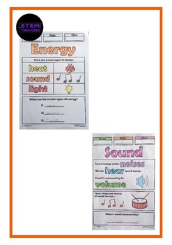 Types of Energy Color and Learn Elementary Science Activity