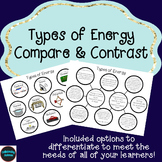 Types of Energy Compare & Contrast (Double Bubble Map)