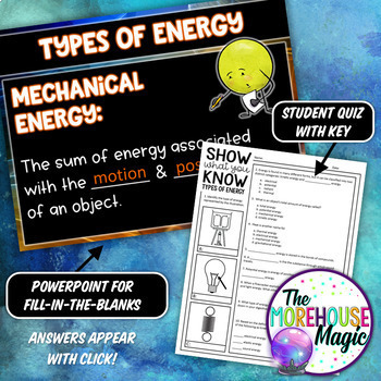TYPES OF ENERGY SCIENCE DOODLE NOTES, INTERACTIVE NOTEBOOK, MINI ANCHOR CHART