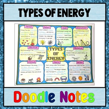 Types of Energy Doodle Notes, including a Types of Energy Sort