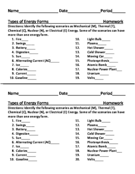 Types of Energy Forms Homework