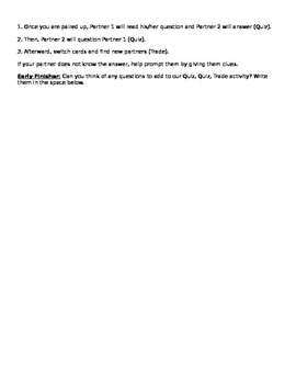Types of Energy Guided Notes and Quiz, Quiz, Trade Activity