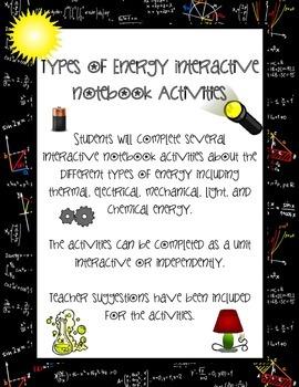 Types of Energy Interactive Notebook Activities