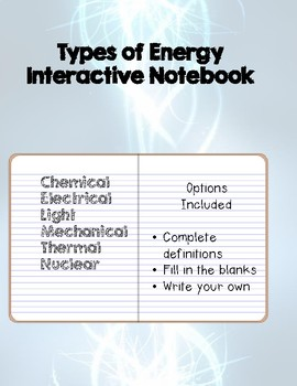 Types of Energy- Interactive Notebook Page