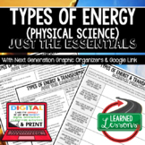 Types of Energy Just the Essentials Content Outlines, Next Generation Science