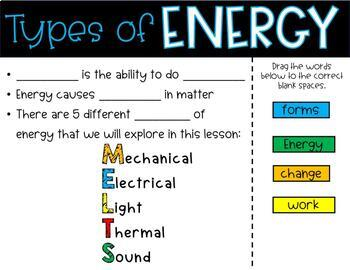 Types of Energy PowerPoint and Notes