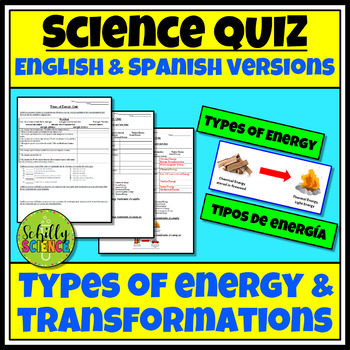 Types of Energy Quiz in both English and Spanish