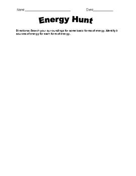 Types of Energy Scavenger Hunt